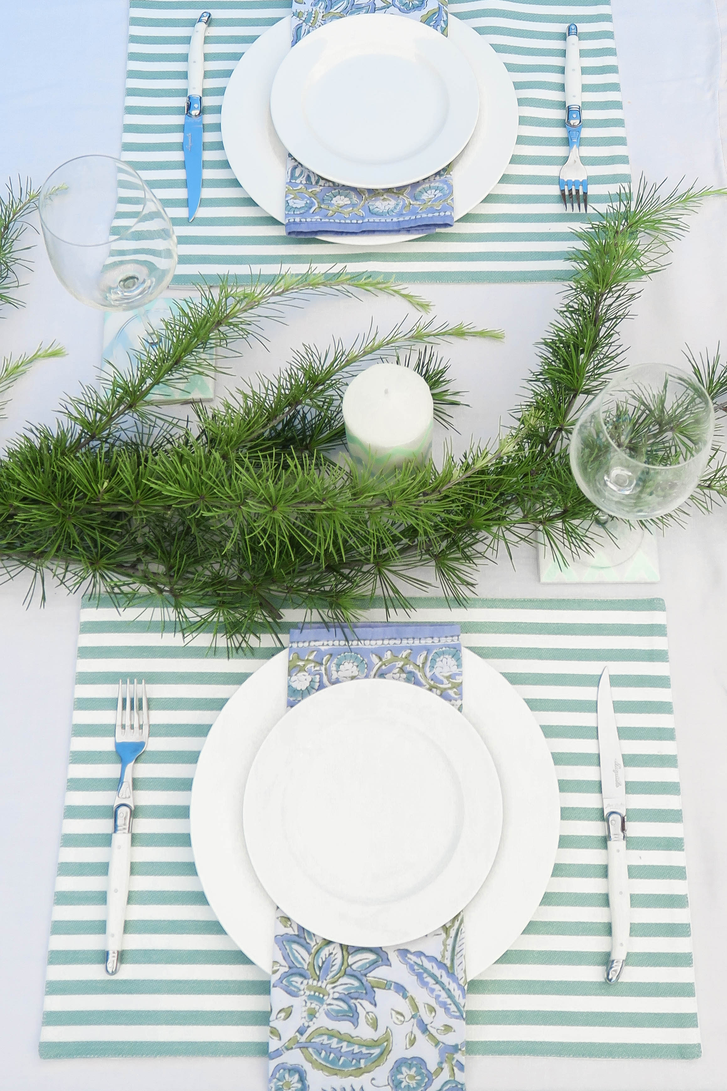 Christmas Table Blue Green