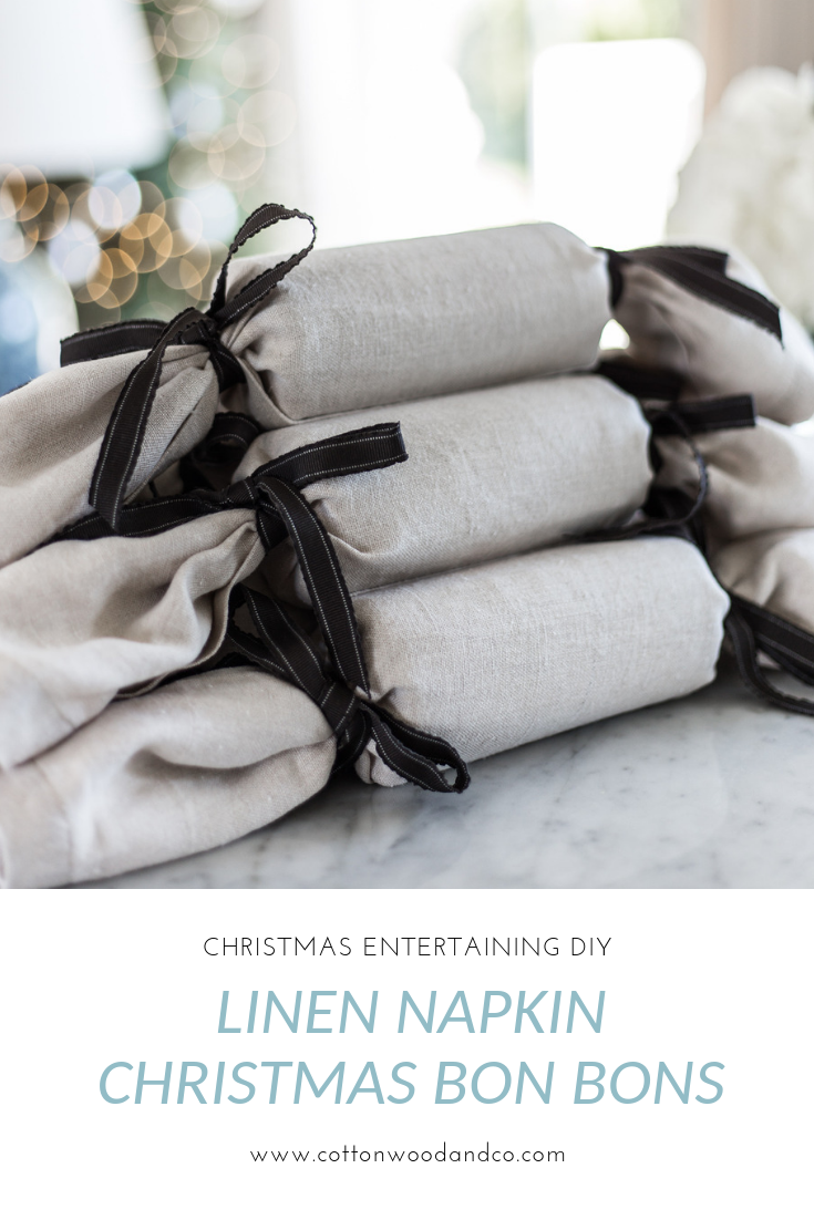 Cottonwood and Co - handmade linen napkin Christmas bon bons