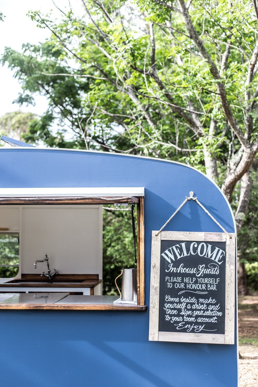 Cottonwood & Co - Blue vintage caravan pool bar at Bells At Killcare-30