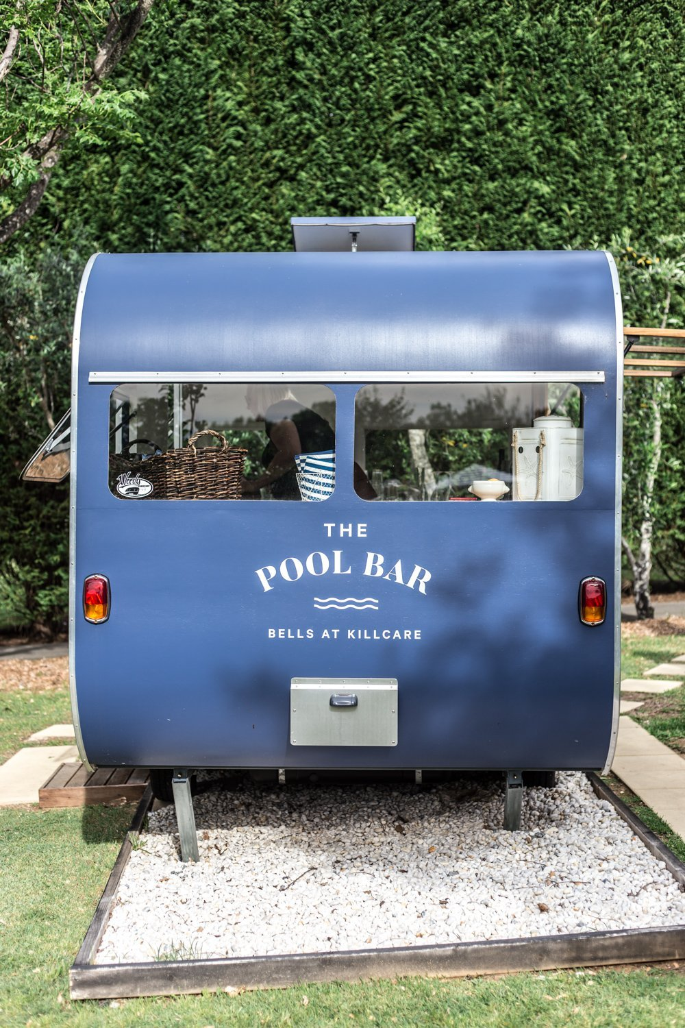 Cottonwood & Co - the blue vintage caravan which is a poolside bar at Bells At Killcare-33
