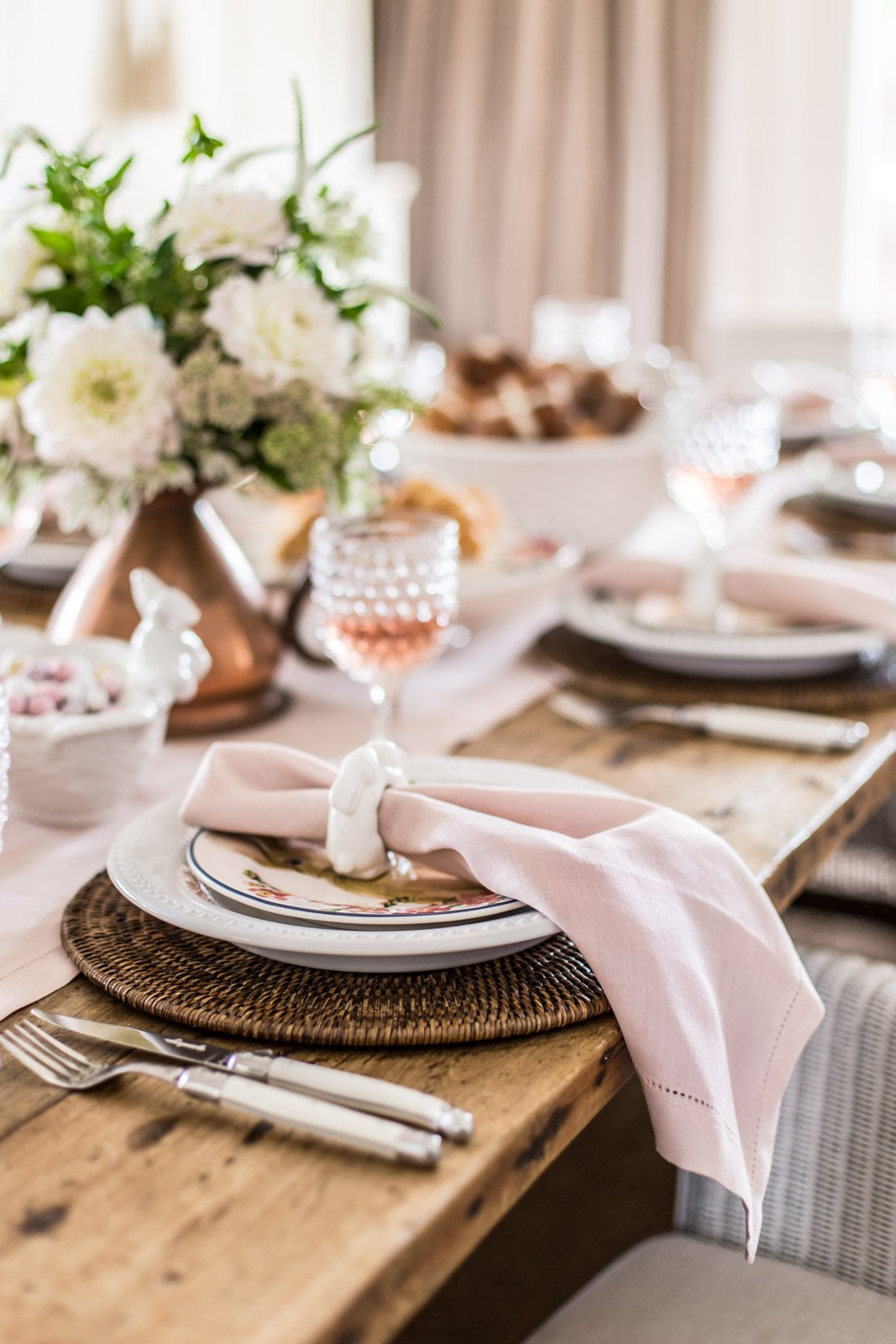 Cottonwood and Co - pink and copper easter table setting - country style