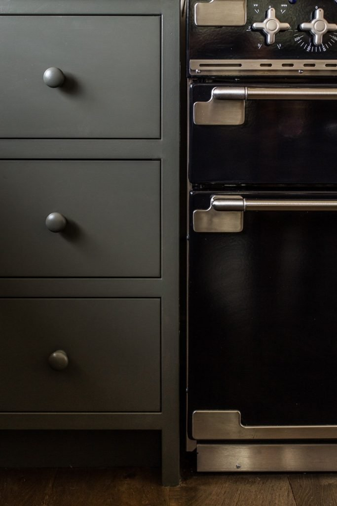 Inset dark green grey cabinetry & Falcon Elise